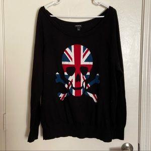 Torrid British flag skull sweater